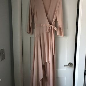 BCBG Maxazaria xs Midi Wrap Gown in Blush